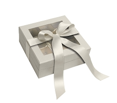 Rigid Set-up Box, Window Box with Ribbon and Riser, Square, 8 oz., Pearlescent, QTY/CASE-12