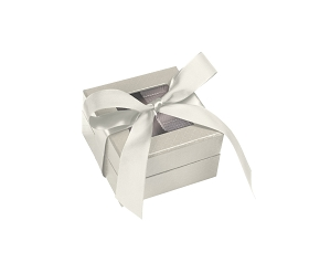 Rigid Set-up Box, Window Box with Ribbon, Square, 3 oz., Pearlescent, QTY/CASE-24