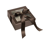 Rigid Set-up Box, Window Box with Ribbon and Riser, Square, 8 oz., Deco Bronze, QTY/CASE-12