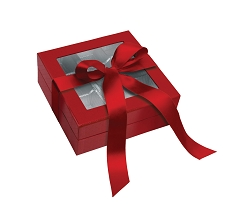 Rigid Set-up Box, Window Box with Ribbon, Square, 8 oz., 5th Ave. Red, QTY/CASE-12