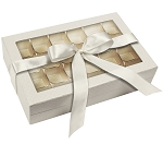 Rigid Set-up Box, Window Box with Ribbon and Riser, Rectangle, 16 oz., Pearlescent, QTY/CASE-12