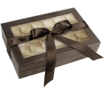Rigid Set-up Box, Window Box with Ribbon with Riser, Rectangle, 16 oz., Deco Bronze, QTY/CASE-12