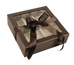 Rigid Set-up Box, Window Box with Ribbon, Square, 16 oz., Deco Bronze, QTY/CASE-12