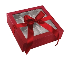 Rigid Set-up Box, Window Box with Ribbon and Riser, Square, 16 oz., 5th Ave. Red, QTY/CASE-12