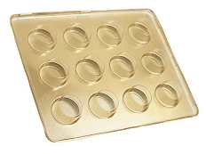 Tray, Artisan Series Gold Tray with Clear Lid, Rectangle, 12 Cavity, 8-3/4 x 6-1/2 x 1
