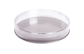 Clear Plastic Packaging, Round, Silver Base, 6 x 1