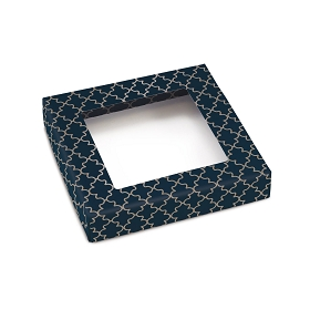 Navy Elegance, Decorative Gift Box with Window, 5-1/2 x 5-1/2 x 1