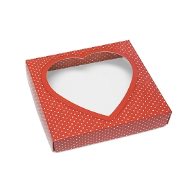 Red Heart w/ White Polka Dots, Decorative Gift Box with Window, 5-1/2 x 5-1/2 x 1