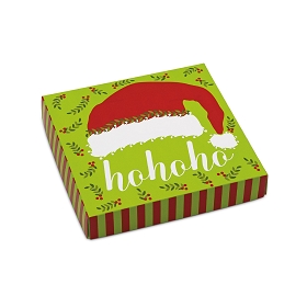 HO HO HO Santa Hat, Decorative Gift Box, 5-1/2 x 5-1/2 x 1