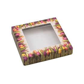 Country Tulips, Decorative Gift Box with Window, 5-1/2 x 5-1/2 x 1