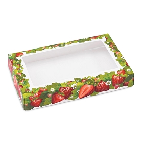 Strawberry Fields, Decorative Lid with Window, Rectangle, 7 x 4-1/2 x 1