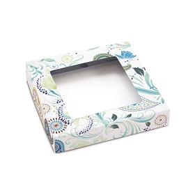 Blue Paisley, Decorative Gift Box with Window, 5-1/2 x 5-1/2 x 1