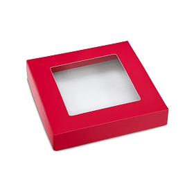 This Top - That Bottom, Window Lid, Square, Red, 5-1/2 x 5-1/2 x 1
