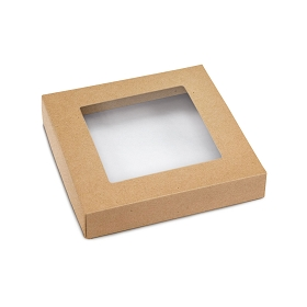 This Top - That Bottom, Window Lid, Square, Kraft, 5-1/2 x 5-1/2 x 1