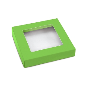 This Top - That Bottom, Window Lid, Square, Leaf Green, 5-1/2 x 5-1/2 x 1