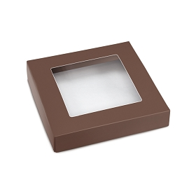 This Top - That Bottom, Window Lid, 8 oz, Square, Brown, 5-1/2 x 5-1/2 x 1