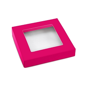This Top - That Bottom, Window Lid, Square, Hot Pink , 5-1/2 x 5-1/2 x 1