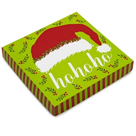 HO HO HO Santa Hat, Decorative Gift Box, 7-1/2 x 7-1/2 x 1