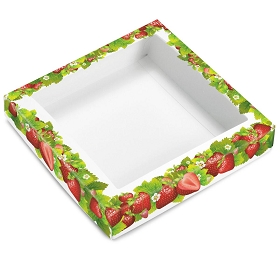 Strawberry Fields, Decorative Gift Box Lid with Window, 7-1/2 x 7-1/2 x 1