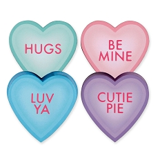 Heart Shaped Candy Box, Pastel Heart Talk Group, 4 oz., QTY/CASE-24