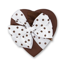 Heart Shaped Candy Box, Coco Satin Polka Dot Bow, 8 oz., QTY/CASE-12