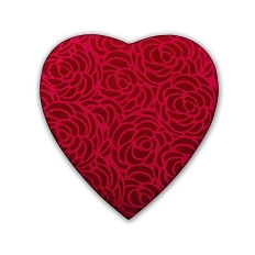 Heart Shaped Candy Box, Rose Swirl, 8 oz., Red, QTY/CASE-12