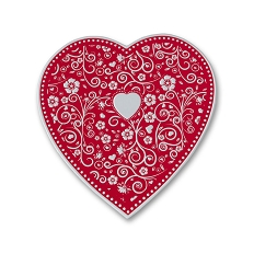 Heart Shaped Candy Box, Embossed, Silver, 8 oz., QTY/CASE-24