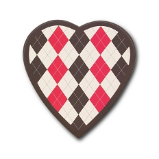 Heart Shaped Candy Box, Argyle, 8 oz., QTY/CASE-24