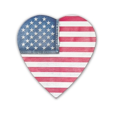 Heart Shaped Candy Box, Denim Flag, 8 oz., QTY/CASE-24