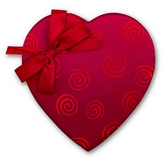 Heart Shaped Candy Box, Swirls and Bow, Satin, Red, 1 lb., QTY/CASE-6