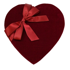 Heart Shaped Candy Box, Red Velvet, 1 lb., QTY/CASE-6