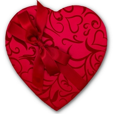 Heart Shaped Candy Box, Bow and Sash, Passion Ivy, 1 lb., QTY/CASE-6