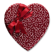 Heart Shaped Candy Box, Crimson & White Heart Print, Bow, 1 lb., QTY/CASE-6