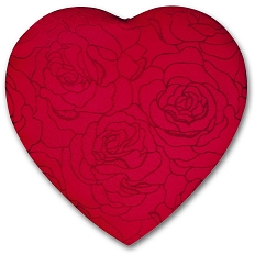 Heart Shaped Candy Box, Embroidered Rose, 1 lb. , QTY/CASE-6