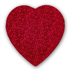 Heart Shaped Candy Box, Rose Swirl, 1 lb., Red, QTY/CASE-6