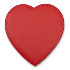 Heart Shaped Candy Box, Leather, Red, 1 lb., QTY/CASE-6