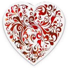 Heart Shaped Candy Box, Truffle Depth, Red Swirl, 1 lb., QTY/CASE-6