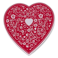 Heart Shaped Candy Box, Embossed, Silver, 1 lb., QTY/CASE-12