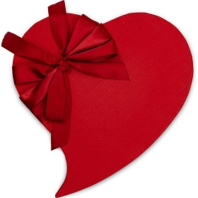 Heart Shaped Candy Box, Whimsical, Red Bow, 1 lb., QTY/CASE-6
