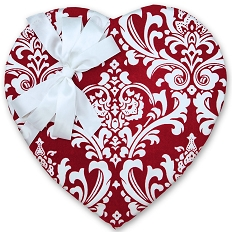 Heart Shaped Candy Box, Red Damask, 2 lb. , QTY/CASE-4