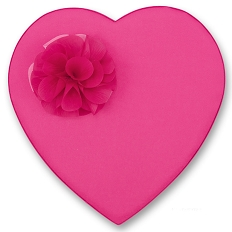 Heart Shaped Candy Box, Katie, Pink Satin with Corsage, 2 lb., QTY/CASE-4