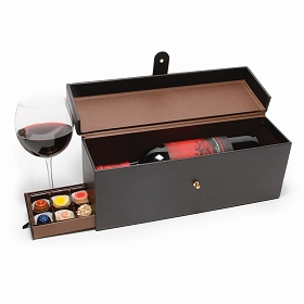 Rigid Set-up Box, Wine and Champagne Leather Gift Box, Faux Leather, Black, QTY/CASE-6