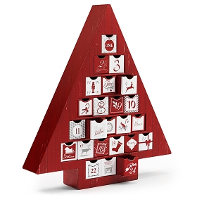 Rigid Set-up Box, Red Advent Calendar Tree Box, QTY/CASE-6