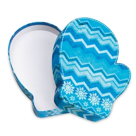 Rigid Set-up Box, Blue Snowflake Chevron Mitten Box, QTY/CASE-12
