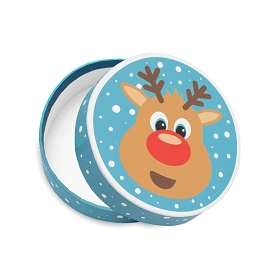 Rigid Set-up Box, Reindeer Round Box, QTY/CASE-12
