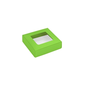 This Top - That Bottom, Window Lid, Square, Leaf Green, 3-1/2 x 3-1/2 x 1
