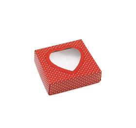Red Heart w/ White Polka Dots, Decorative Gift Box with Window, 3-1/2 x 3-1/2 x 1