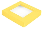 Folding Carton, This Top - That Bottom, Window Lid, 8 oz., Square, Yellow, QTY/CASE-50