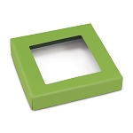 Folding Carton, This Top - That Bottom, Window Lid, 8 oz., Square, Leaf Green, QTY/CASE-50