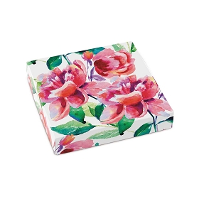 Painted Peonies, Decorative Gift Box, 5-1/2 x 5-1/2 x 1